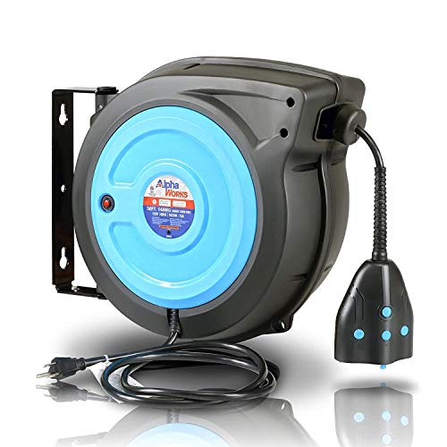 AlphaWorks Cord Reel Extension Alexa Smart Plug 14AWG x 50' Feet (2) IP64 Waterproof Wireless Remote Control Timer Rated at 13A 1625W & Advanced Slow Retraction Technolog...
