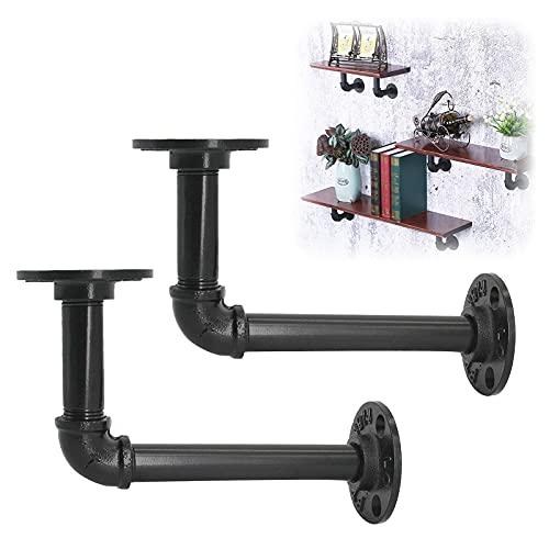 AddGrace Soportes flotantes montados en la pared 12 × 17 cm Soportes de tubo 2 paquetes rústico soportes industriales de hierro negro soportes de estante (negro) 1217 cm