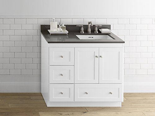 RONBOW Essentials Shaker 36 Inch Bathroom Vanity Cabinet Base in White Finish, with Soft Close Wood Doors on Right and Full Extension Drawers 081936-3R-W01