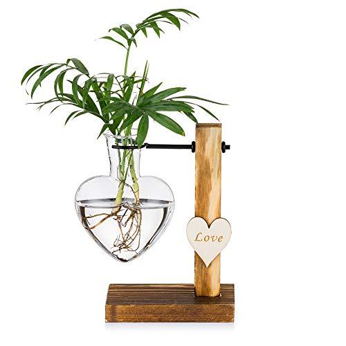 Glasknospenvase mit Holzständer, kreative Hydroponische Glasvasen mit einem Herzen, Moderne Pflanzenvermehrungsstation Desktop-Pflanzgefäßbirne
