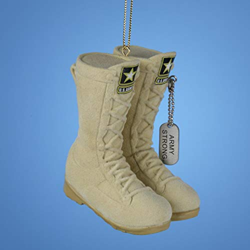 Kurt Adler 3 ' U.S. Army Flocked Combat Boots Christmas Ornament, Ivory