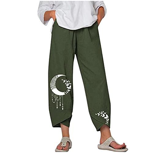 Liably Pantalones de mujer de algodón y lino, cintura ancha, con estampado de luna, ligeros, de cintura alta,...