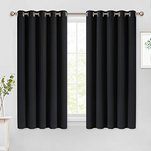 NICETOWN Black Out Curtains for Living Room - Easy Care Solid Thermal Insulated Grommet Blackout Panels/Drapes for Bedroom Window (2 Panels, 66 inches Wide by 54 inches Long)