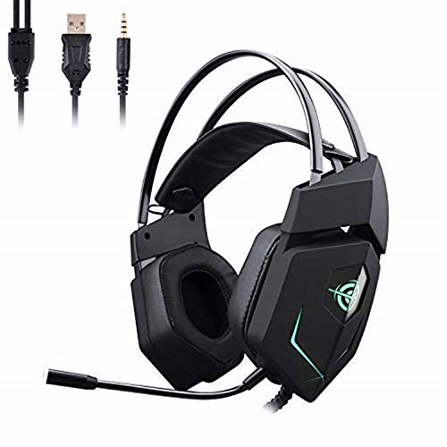 Gaming Headset,GAKOV MV3 USB PC Gaming Headphones Super Bass Noise Cancelling Over Ear Earphones with Mic-Phone and Colorful Breath Light for Xbox One,PS4, PC, PS Vita, Smart Phone -Classic Black