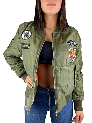 Worldclassca Damen Bomber Jacke MIT Army MILITÄR Patches ÜBERGANGSJACKE Bomberjacke Blouson Piloten Jacke Fliegerjacke Blogger Clubwear NEU REIßVERSCHLUSS NEU XS-L (M, Grün Patches)