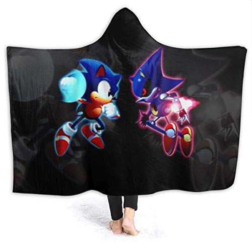 CHICLI Fall Hooded Blankets for Boys Girls, Sonic Vs Metal Sonic Forces Death Battle Poster Wearable Blankets for Christmas, Bed, Airplane, All Seasons Cozy Hooded Throw Poncho
