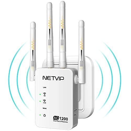 NETVIP WLAN Repeater 1200Mbps Wireless WLAN Verstärker Dual-Band (867Mbit/s 5GHz, 185Mbit/s 2,4GHz), WLAN Mesh Extender mit Gigabit LAN Port, 4 x Externe Antenne, Funktioniert mit Allen WLAN Router