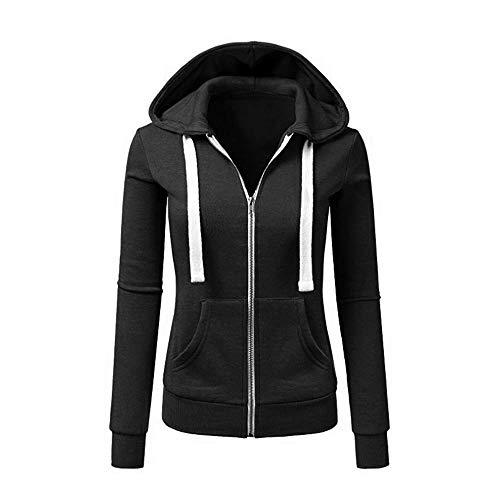 Newbestyle Jacke Damen Sweatjacke Hoodie Sweatshirtjacke Pullover Oberteile Kapuzenpullover (Schwarz, XXL)
