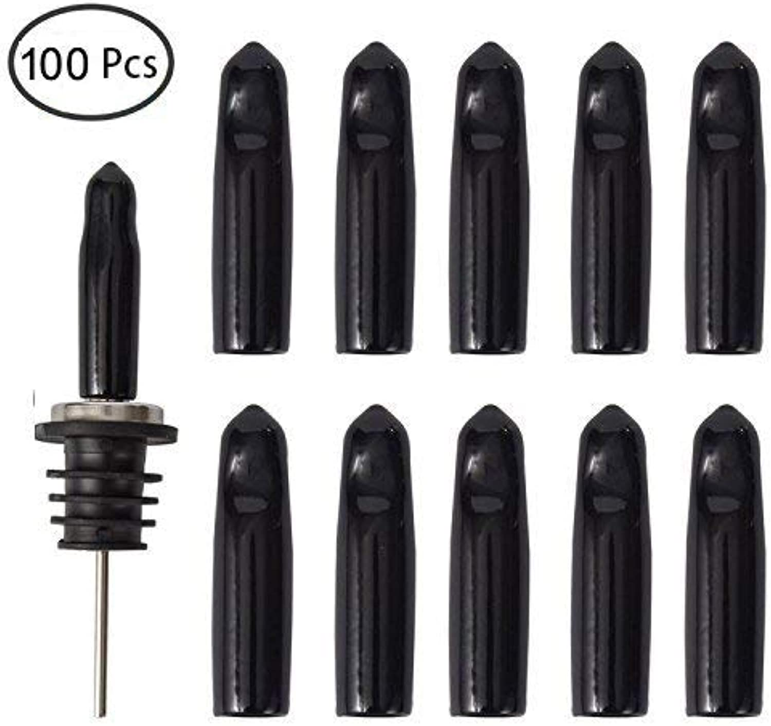 LEGERM 100 Pcs Liquor Bottle Pourer Cap Olive Oil Pour Spouts Rubber Dust Cover Caps Dust-Proof,Food-safe