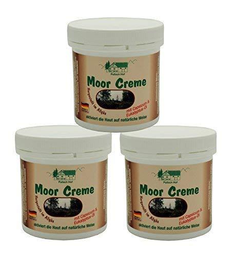 3 x 250 ml Moor Creme vom Pullach Hof zur Pflege von Rücken, Nacken und Haut mit Capsicum und Eukalyptus-Öl