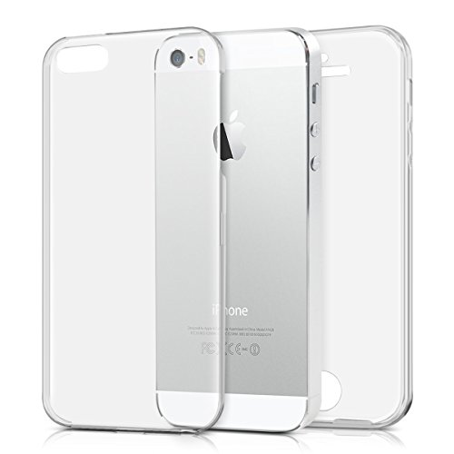 kwmobile Funda para Apple iPhone SE / 5 / 5S - Carcasa completa 360 de silicona para móvil - Cover doble transparente