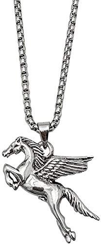 BACKZY MXJP Halskette Herren S Titan Stahl Edelstahl Halskette Pegasus Anhänger Schwermetall Anhänger Schlüsselbein Kette