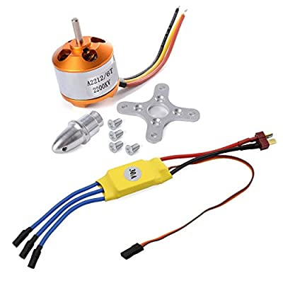 Kyrio 2212 2200kv Brushless Outrunner Motor W/Mount 6t + 30a ESC RC Motor Brushless Speed Controller Set for Drone Rc Quadcopter DJI Plane Aircraft by Kyrio