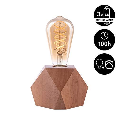 CROWN LED Tischlampe Vintage Batteriebetrieben - Design Tischleuchte aus Holz E27 Fassung inkl. Retro Edison LED Glühbirne EL17