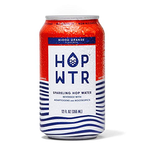 HOP WTR - Sparkling Hop Water - Blood Orange (12 Pack) - NA Beer, No Calories or Sugar, Low Carb, With Adaptogens and Nootropics for Added Benefits (12 oz Cans)