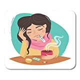 Alfombrilla de ratón chica enferma de gripe medicamentos para el resfriado termómetro té limón alfombrilla de ratón de dibujos animados para cuadernos, Computadoras de escritorio alfombrillas de ratón