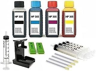 Inktpatronen navulset - 4 x 100 ml premium navulinkt zwart, cyaan, magenta en geel voor HP 305 zwart en color (XL) inktpat...