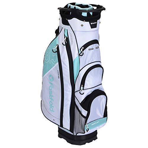 FASTFOLD Golf-Trolley Damen Ladies Cart Bag - Weiß/Blau, mit 14 Fächern, Wasserdicht, Golftasche Golfbag Standbag Golfreisebag Golf-Reisetasche Cartbag Organizer Trolleybag, inklusive Regenschutzhülle