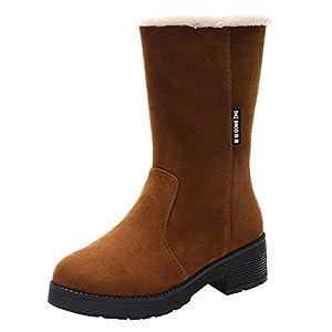 SamMoSon Botas Mujer Invierno Altas Nieve Altas Negras De Agua Planas,Botas De Tubo Mediano De Tacón Cuadrado para Mujer Botas De Nieve De Gamuza De Color Sólido Zapatos Sin Cordones