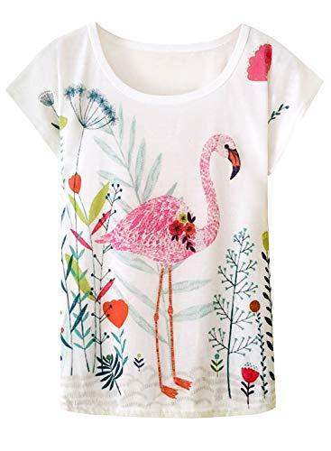 Doballa Damen Flamingo T-Shirt Floral Crown Garland Muster Kurzarm Niedlich Oberteile (XL, Blumenflamingo)