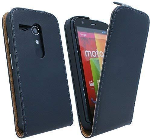 ENERGMiX Handytasche Flip Style kompatibel mit Motorola Moto G (1.Generation) in Schwarz Klapptasche Hülle