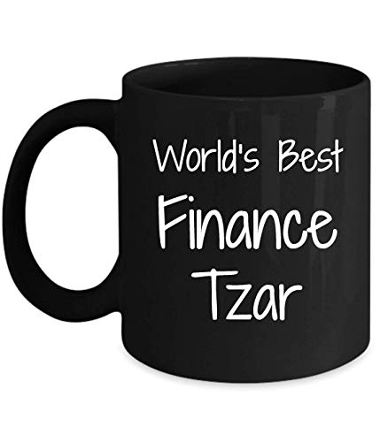 N\A Regalo para el zar de Las finanzas - lo Mejor del Mundo - Divertida Novedad Idea de Regalo café Taza de té Regalos Divertidos cumpleaños Navidad Aniversario Agradecimiento Taza Negra