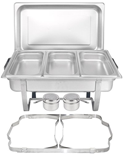 TigerChef Chafing Dish Buffet Set - Chaffing Dishes Stainless Steel - Chafer and Buffet Warmer Set with 3 Third Size Steam Pans and Folding Frame - Food Warmers for Parties Buffets