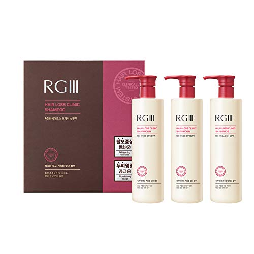 RGIII Hair Regeneration Clinic Shampoo with Purified Red Ginseng Saponin & 6 Naturally Derived Ingredients for Hair Loss/Regrowth/Strengthening/for both Men & Woman 3pc Set (17.58oz /ea x 3)