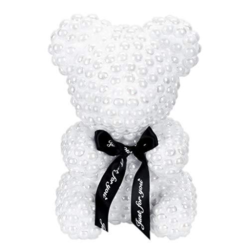 Generic 21cm Foam Bear Modeling Imitation Pearl Handmade Craft Gift Christmas Valentine's Day Wedding Home Decoration White