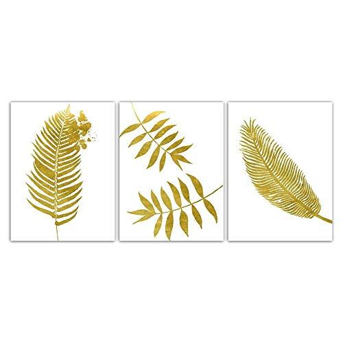 xwwnzdq Minimalisme Gouden Bladeren Muurschilderingen Scandinavische Posters Home Decoratie Foto's Afdrukken Op Doek Moderne Muur Kunstwerk Afbeelding 50x70cmx3 Geen Frame