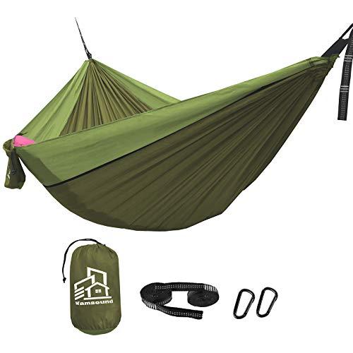 Wamsound Camping Hammock Single Double Portable Hammock2 Tree Straps6 Sections 92 InchesStorage BagIndoor Outdoor HammockBackpackingCampingHikingBeachBackyardSingleGreenGreen