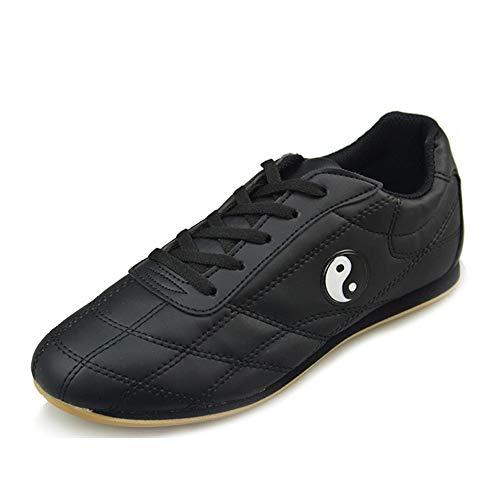 Willsky Zapatos de Artes Marciales, Tai-chi Zapatos de Kung-Fu Formadores Unisex Antideslizante Transpirable Fitness Deportes al Aire Libre,Negro,38