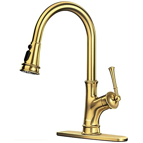 APPASO Gold Kitchen Faucet with Pull Down Magnetic Docking Sprayer