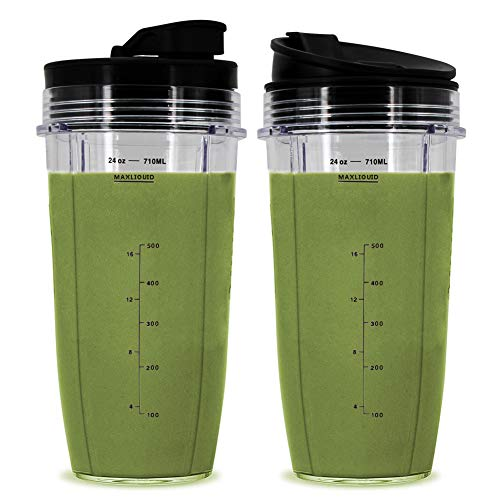 Wetop 24 oz Cups, Compatible with BL480, BL490, BL640, BL680 for Nutri Ninja Auto IQ Series Blenders (Pack of 2)