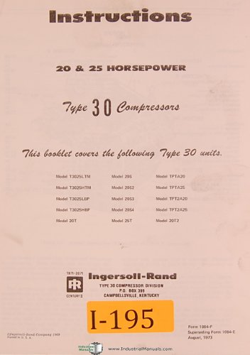 Ingersoll rand Type 30, 20 & 25 HP, Compressor Instructions and Maintenance Manual