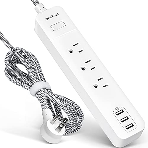 Power Strip with USB - 3 Outlets 3 USB Ports, Wall Mountable No Surge Protector Flat Plug with 5Ft Braided Extension Cord, Overload Protection for Cruise Home Office ETL Listed