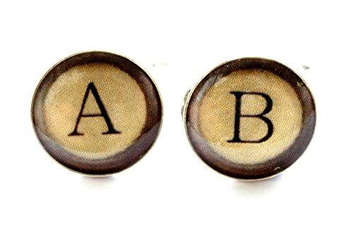 Gemelos de la máquina de escribir, mancuernas del monograma, mancuern