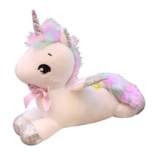 Boufery Muñeco de Peluche de Unicornio, muñeco de Animales de Peluche de Caballo Suave, muñeco de Almohada para Dormir, Regalo de cumpleaños para niños de 45 cm