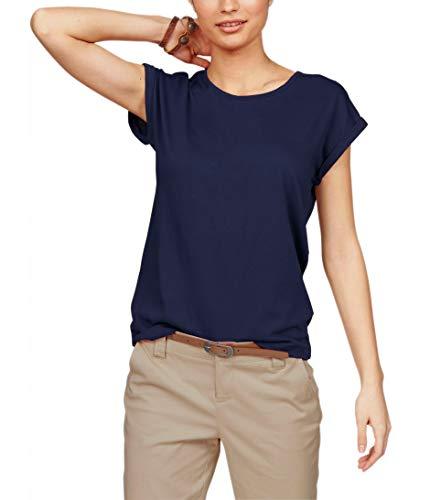 TrendiMax Damen T-Shirt Einfarbig Rundhals Kurzarm Sommer Shirt Locker Oberteile Basic Tops (Dunkelblau, S)
