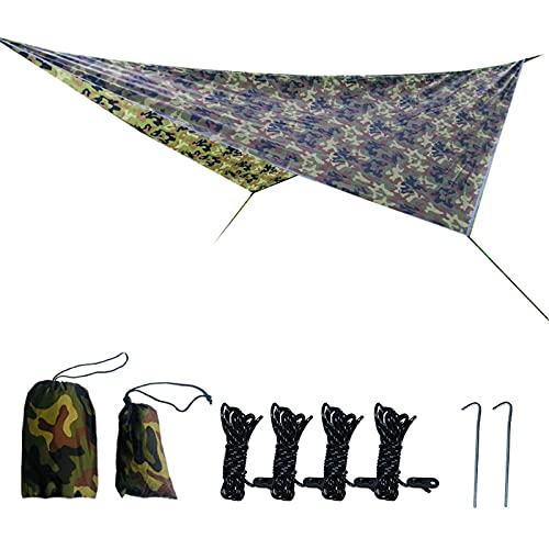 Lona de camping impermeable para la lluvia y la mosca tienda de campaña refugio Esencial Gear Sombrilla Senderismo Mochilero Toldo al aire libre (camuflaje)