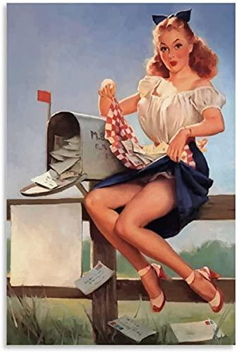 GYJDD - Poster vintage per soggiorno, per la cassetta delle poste, motivo: ragazza Pinup, decorazione della stanza dei bambini, 50 x 70 cm, senza cornice