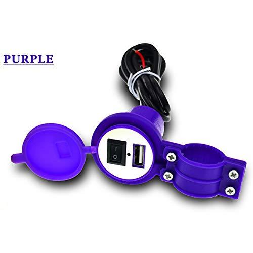 Ocamo Verjaardagscadeau, mannengeschenk, motorfiets, USB-oplader voor mobiele telefoon, motorfiets, USB-oplader met schakelaar, waterdichte scooter, oplader voor mobiele telefoon, 12 V lila