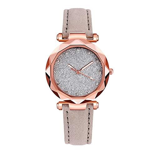 QHG Mujeres Mira Romántico Starry Sky Muñeca Casual Cuero Rhinestone Designer Dama Reloj Simple Vestido (Color : B)