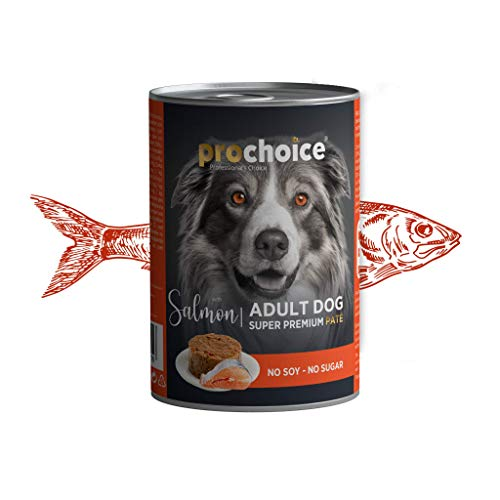 Prochoice - 400g Wet Dog Food With Salmon & Rice Paté For Adult Dogs (Pack of 12) - 1 Pack(12pcs)