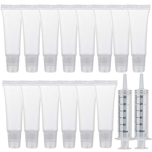 20 paquetes de tubos de brillo de labios, 8 ml, transparentes, vacíos, para bálsamo de labios, recargables, mini tubos de cosméticos suaves para mujeres y niñas, maquillaje DIY, brillo de labios