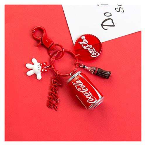 Hjdmcwd Llavero Bebida fría del Llavero Coke Llavero de la Moda Creativa Puede Llavero Mujeres Bolsa Coche Hombres Anillo Pendiente dominante y (Color : 1)