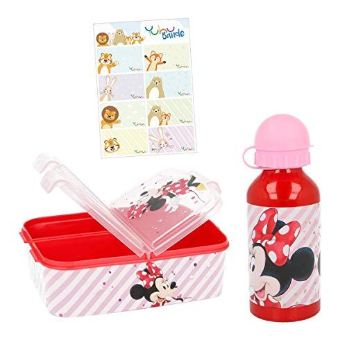 Minnie Mouse Lunch-Set Trinkflasche + Brotdose mit Yuhu Bande Namens-Aufkleber Sticker