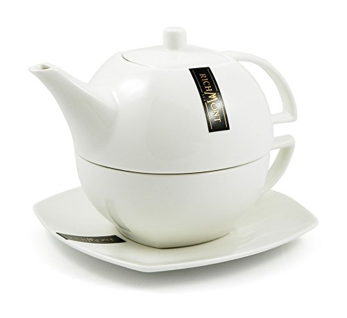 RICHMONT DUO Teekanne mit Teetasse mit ausgewählten Teebeutel für Verkostung (12 Stk) - Geschenkset.