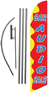 Car Audio Sale Advertising Feather Banner Swooper Flag Sign with Flag Pole Kit and Ground Stake