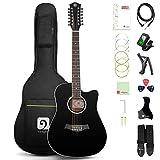 Vangoa 12 Cuerdas Guitarra Electroacústicas 41 pulgadas Dreadnought Guitarra de Doce-cuerdas con Ecualizador de 4 bandas, Kits de Principiantes, Negro